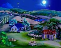Märchen-Sommer-Nacht im Dorf vektor abbildung