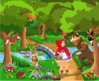 Märchen-Vektorillustration des Rotkäppchens klassische vektor abbildung
