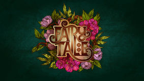 Märchenbeschriftung verziert mit bunten Blumen und Blättern Stockfotografie