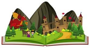 Märchenbuch mit Drachen am Schloss stock abbildung
