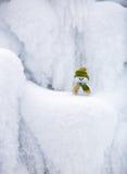 Märchencharakter der Schneemann im Hut und im Schal Lizenzfreie Stockfotos