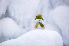 Märchencharakter der Schneemann im Hut und im Schal Lizenzfreies Stockbild