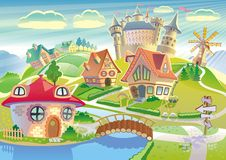 Märchenland mit wenigem Dorf, Schloss, Windmühle Stockbild