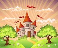 Märchenlandschaft mit Schloss Lizenzfreie Stockbilder
