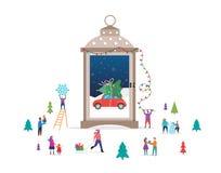 Märchenlandszene der frohen Weihnachten, des Winters in einer Schneekugel, Kerzenlaterne und kleine Leute, junge Männer und Fraue vektor abbildung