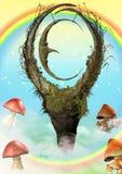 Märchenmondstatue mit Pilzen Lizenzfreies Stockbild