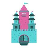 Märchenschloss auf einem Hintergrund von Hügeln im Kreis Lizenzfreies Stockfoto