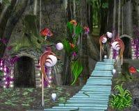 Märchenserie - Fantasiewald und Feehaus vektor abbildung