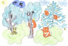 Märchenwald mit wilden Tieren vektor abbildung