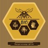 Märk logoen för annonsering och att sälja av honung 1 Royaltyfria Bilder