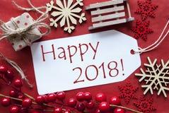 Märk med julgarnering, text lycklig 2018 Arkivfoto