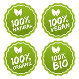 Märk samlingen av 100% organisk produkt och högvärdig kvalitets- naturlig mat Royaltyfri Bild