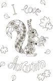 Märka älskar jag hösten, blom- ekorre vektor illustrationer