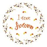 Märka älskar jag hösten, kransen med rött, gulingsidor som älskar fåglar på vit bakgrund vektor illustrationer