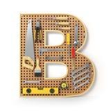 Märka B Alfabet från de isolerade hjälpmedlen på metallpegboarden Royaltyfria Foton