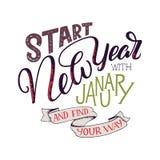 Märka citationstecken - starta det nya året med Januari och finna din väg Bokstäversammansättning för kalendrar, affischer, kort, royaltyfri illustrationer