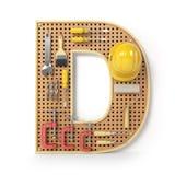 Märka D Alfabet från de isolerade hjälpmedlen på metallpegboarden Royaltyfria Bilder
