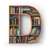 Märka D Alfabet i form av hyllor med böcker som isoleras på Arkivbilder