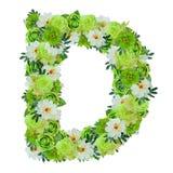 Märka D från gröna och vita blommor som isoleras på vit Arkivbilder