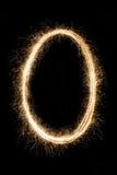 Märka eller numrera den ogiltiga nollan från tomteblossalfabet på svart Royaltyfri Foto