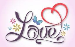 Märka FÖRÄLSKELSE Färgrik hand-skriftlig inskrift med den symboliska hjärtan För teman som t-skjorta design bröllop, royaltyfri illustrationer