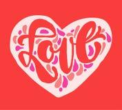 Märka för förälskelse Hand dragen hjärta för bokstäver för kalligrafiborstepenna inre rosa illustration s för hjärta för green fö royaltyfri bild