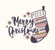 Märka för glad jul som är handskrivet med den eleganta calligraphic skriften och dekorerar med den stack strumpan eller sockan oc royaltyfri illustrationer