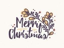 Märka för glad jul som är skriftligt med den eleganta kursiva calligraphic stilsorten Handskriven ferieönska som dekoreras med fi royaltyfri illustrationer