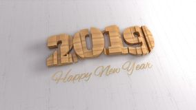 märka för 2019 isolerat nummer som är skriftligt vid trä och guld- lyckligt nytt år på vit bakgrund Makro för selektiv fokus arkivfoto