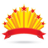 Märka glänsande guld- stjärnor av årsdaglyx med bandresning royaltyfri illustrationer