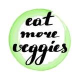 Märka inskriften äta mer veggies royaltyfri illustrationer