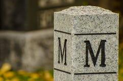 Märka M som snidas in i stenstolpen Arkivbild