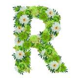 Märka R från gröna och vita blommor som isoleras på vit Royaltyfri Foto