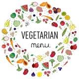 märka strikt vegetarianmenyn, garnering, grönsakdesign royaltyfri illustrationer