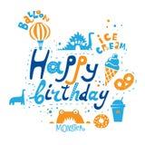 Märka uppsättningen med födelsedag, attributen av ferien: glass ballong, sötsaker vektor illustrationer