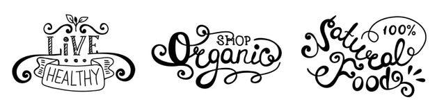 märka uppsättningen Organisk mat, levande sund naturlig mat Royaltyfri Fotografi