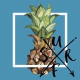 Märka uttrycket - BRÄNNING Ananas med tropiska sidor Beståndsdel för design av inbjudningar, filmaffischer, tyger och royaltyfri illustrationer