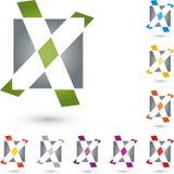 Märka x, den kontrollfläcken och rektangeln, X och checkmarklogoen Fotografering för Bildbyråer