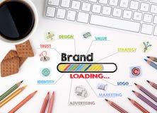 Märke affärsidé Diagram med nyckelord och symboler bläddra white för rengöringsduk för affärsmanskrivbordkontor Royaltyfri Foto