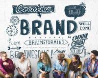 Märke som brännmärker advertizing kommersiellt marknadsföringsbegrepp arkivbild