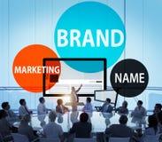Märke som brännmärker begrepp för advertizingmarknadsföringskommers Arkivfoton