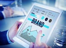 Märke som brännmärker begrepp för marknadsföringsaffärsstrategi Fotografering för Bildbyråer