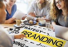 Märke som brännmärker begrepp för varumärke för etikettmarknadsföringsprofil arkivfoto
