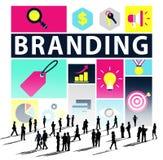 Märke som brännmärker marknadsföra begrepp för kommersiellt namn royaltyfri illustrationer