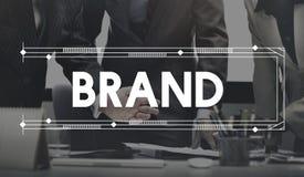 Märke som brännmärker marknadsföra produktbegrepp för kommersiell advertizing arkivbild