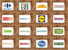 Märken och logoer av bästa berömda supermarketkedjor och detaljhandel Fotografering för Bildbyråer