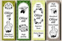 Märker beståndsdelar och mallar för förpackande design för vektor för olivolja och flaskor - sömlösa modeller för bakgrunds- och  royaltyfri illustrationer