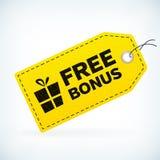 Märker den gult läder specificerade affären den fria bonusen Royaltyfri Foto