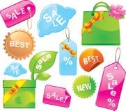 märker försäljningsetiketter Fotografering för Bildbyråer