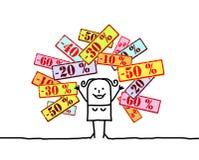 märker försäljningskvinnan stock illustrationer